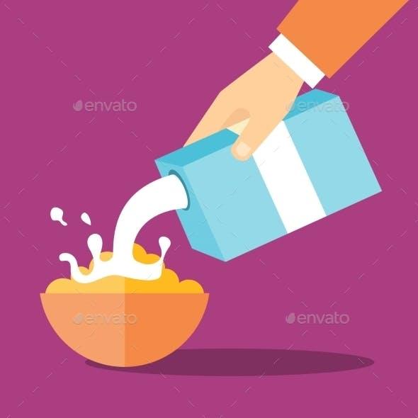 Vector Breakfast Flat Illustration