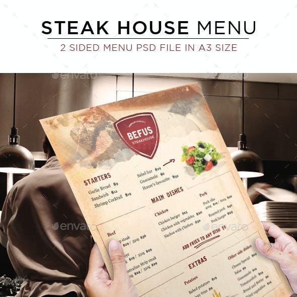 Steak House Menu - 2 sided