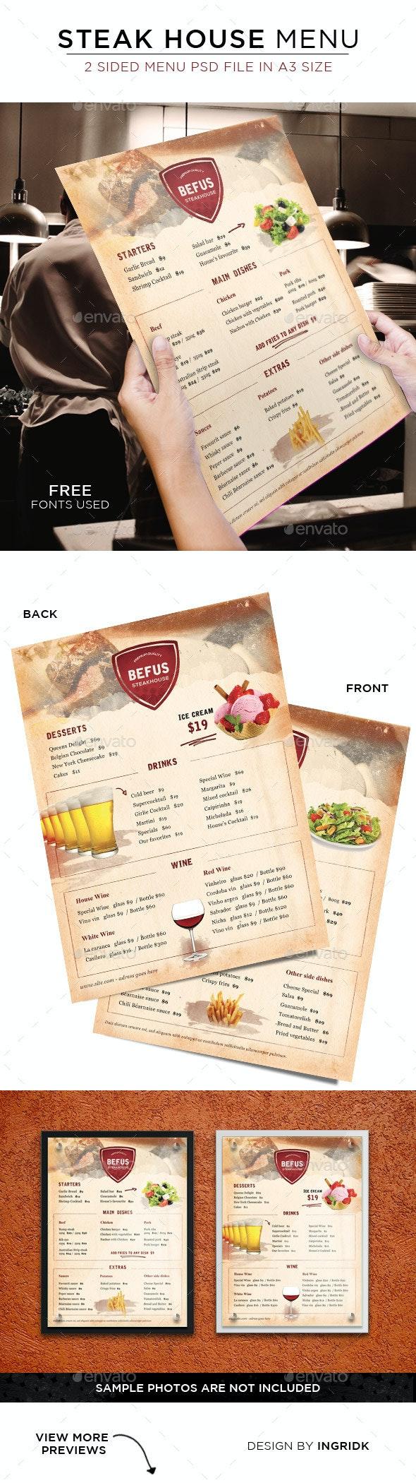 Steak House Menu - 2 sided - Food Menus Print Templates