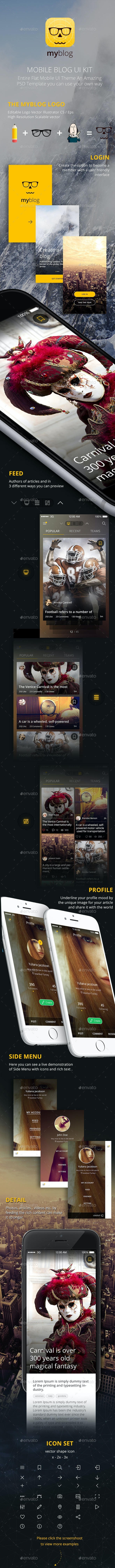 Blog Mobile UI Template - User Interfaces Web Elements