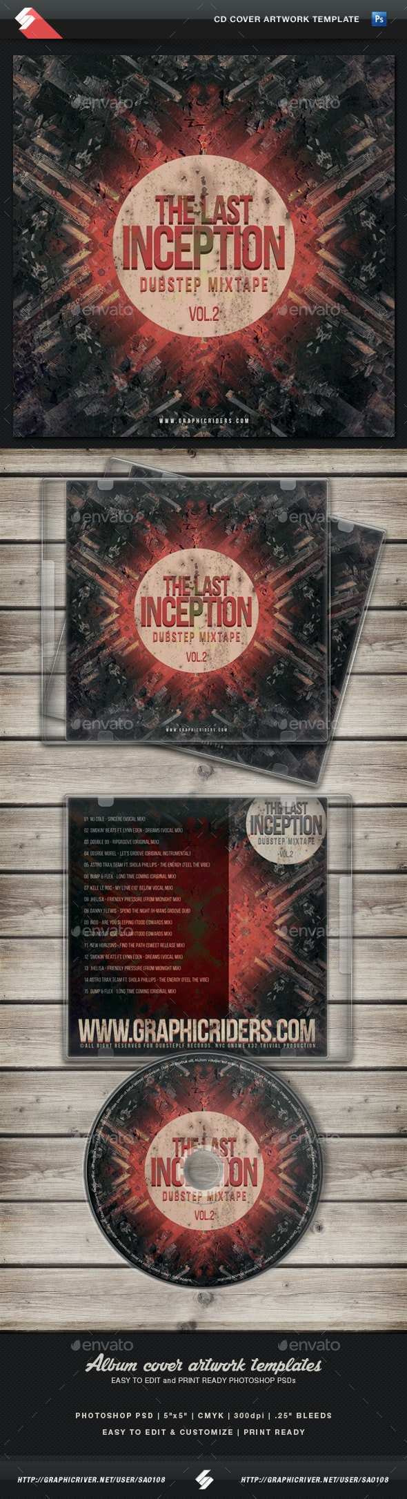 Dubstep Mixtape vol2 - CD Cover Artwork Template - CD & DVD Artwork Print Templates