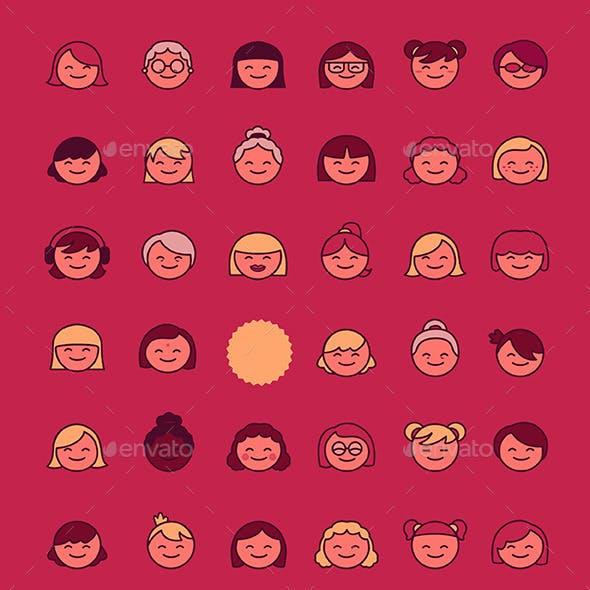 35 Women Faces