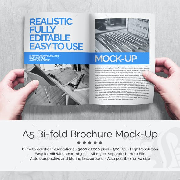 A5 Bi-fold Brochure Mock-Up Set