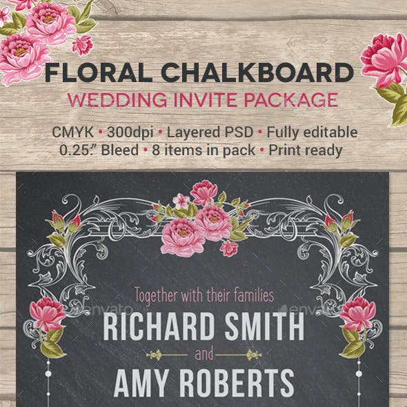 Floral Chalkboard Wedding Invite Package