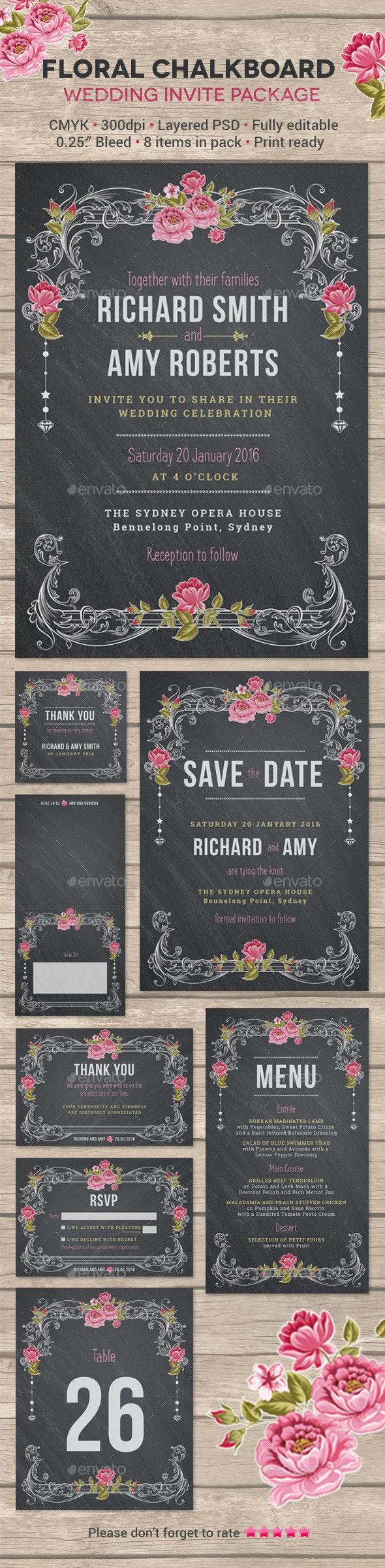 Floral Chalkboard Wedding Invite Package - Weddings Cards & Invites