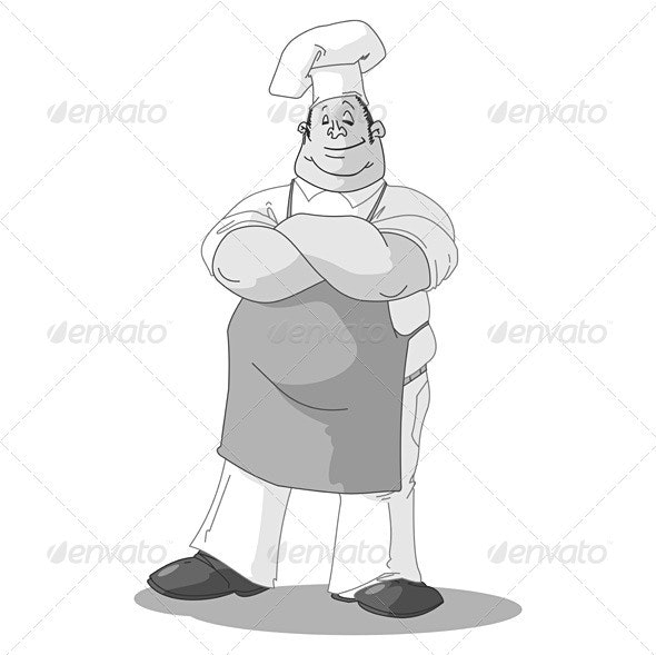 Monochrome Chef Illustration - Food Objects