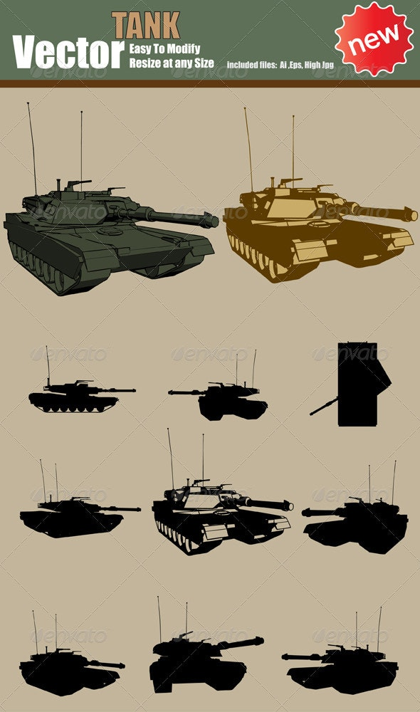 Vector Tank Silhouette Set - Miscellaneous Vectors