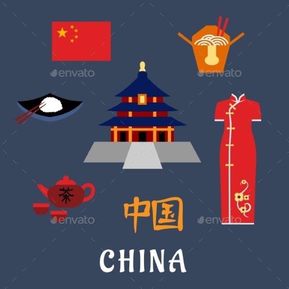 China Flat Travel Icons, Symbols And Elements