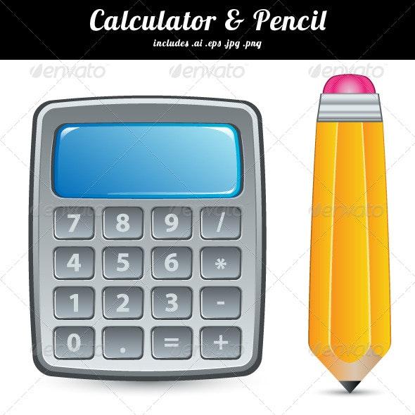 Calculator & Pencil - Objects Vectors