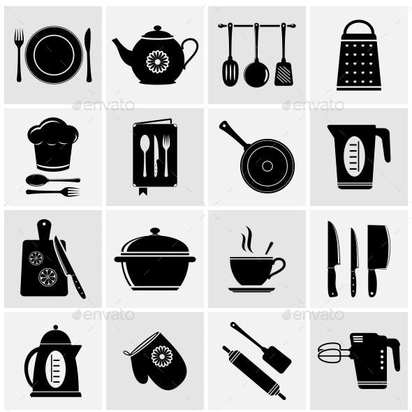 Kitchen, Cooking, Food and Drink Icons Set