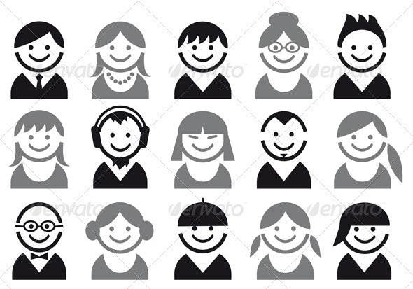 Vector People Icon Set - People Characters
