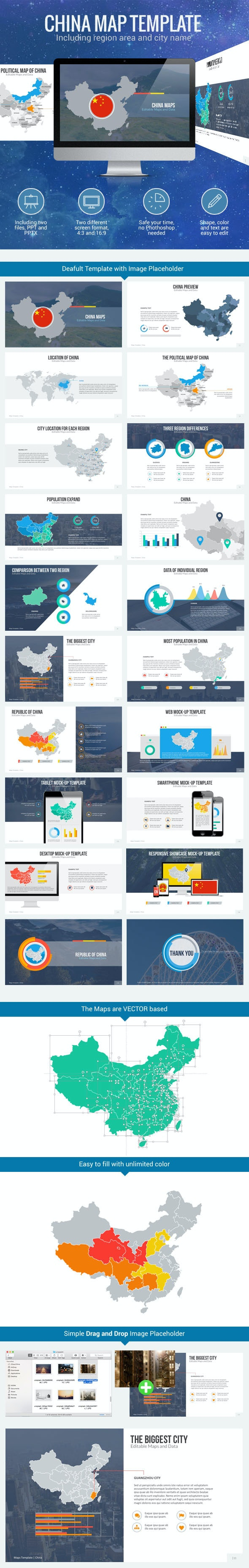 China Map - Editable Map Presentation - PowerPoint Templates Presentation Templates