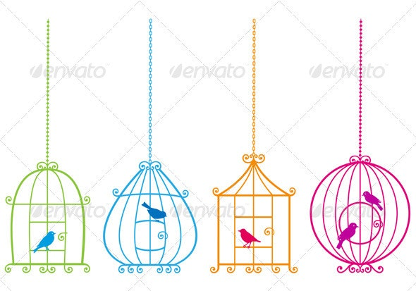 Birdcages With Birds - Animals Characters