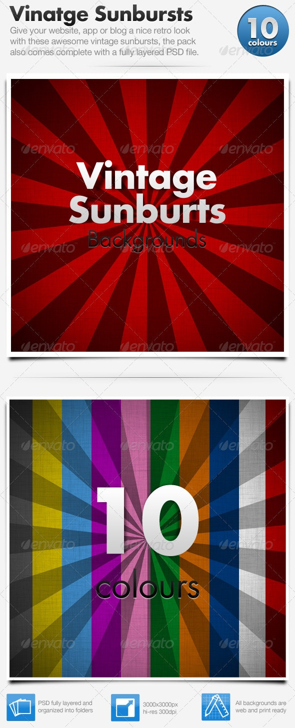 Vintage Sunburst Backgrounds x10 - Backgrounds Graphics