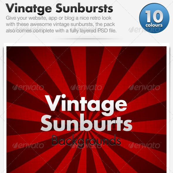 Vintage Sunburst Backgrounds x10