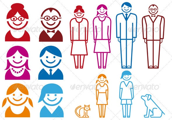 Family Icon Set - People Characters