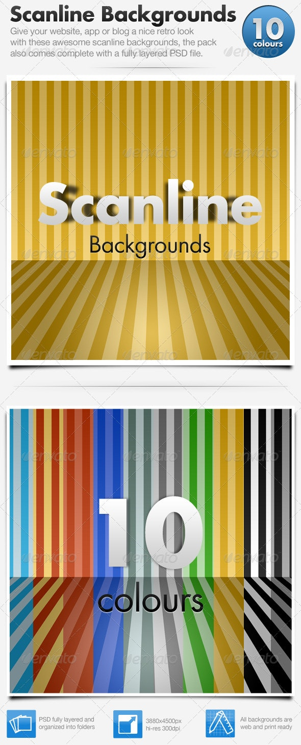 Scanline Backgrounds x10 - Backgrounds Graphics