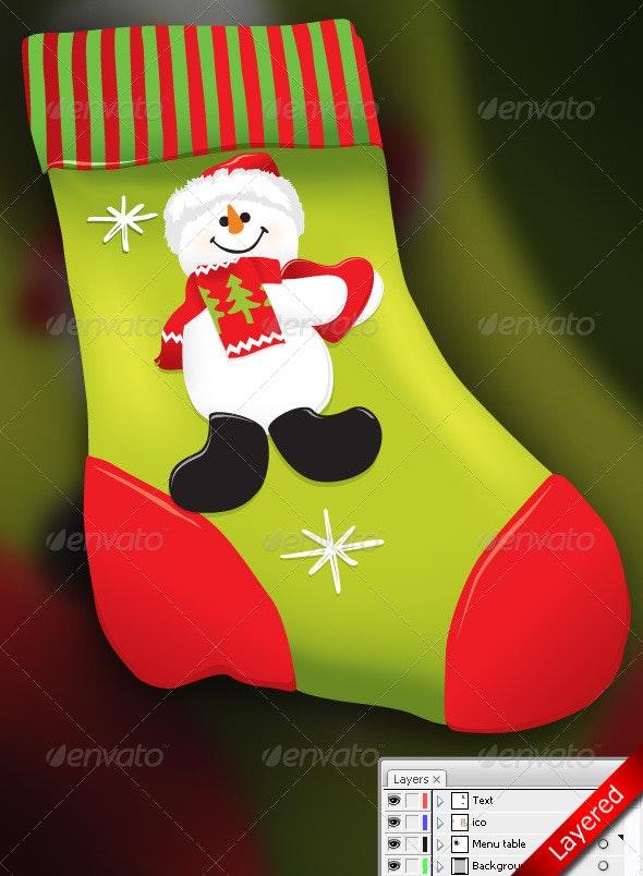 Vector Christmas socks for gifts with snowman - Christmas Seasons/Holidays