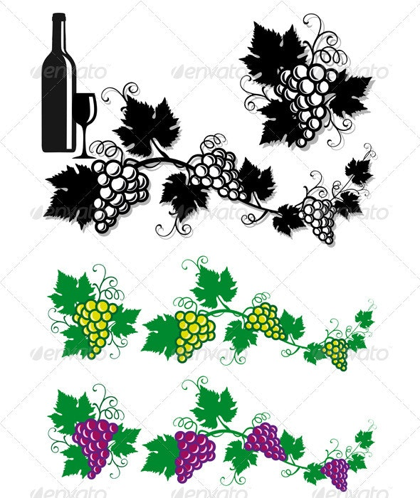 Grapes And Vine Leaves - Food Objects