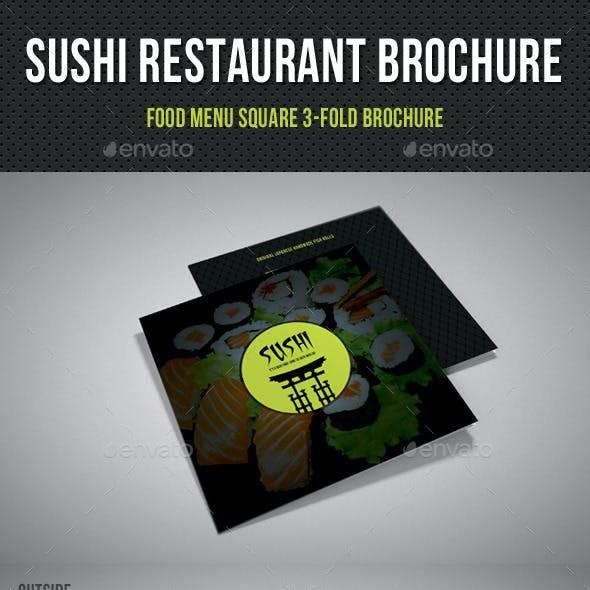 Sushi Restaurant Menu Square 3-Fold Brochure 02