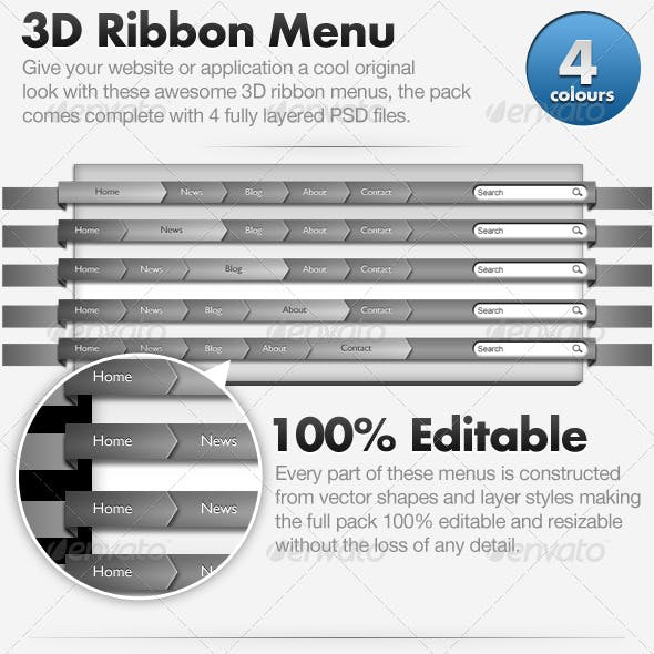 3D Ribbon Menu - Web Navigation