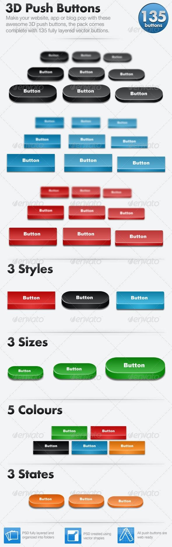3D Push Button Pack - 135 Buttons - Buttons Web Elements