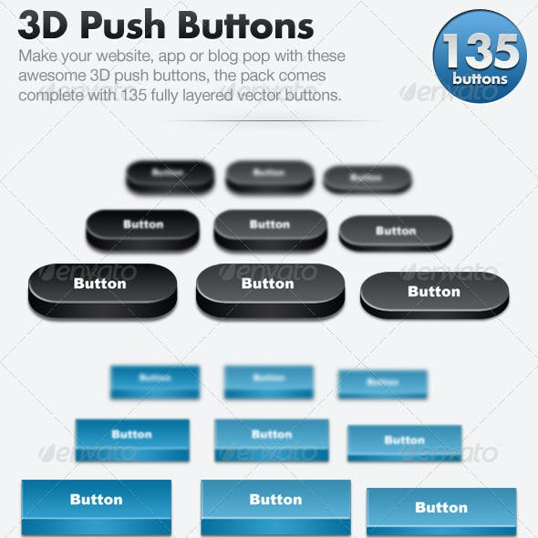 3D Push Button Pack - 135 Buttons