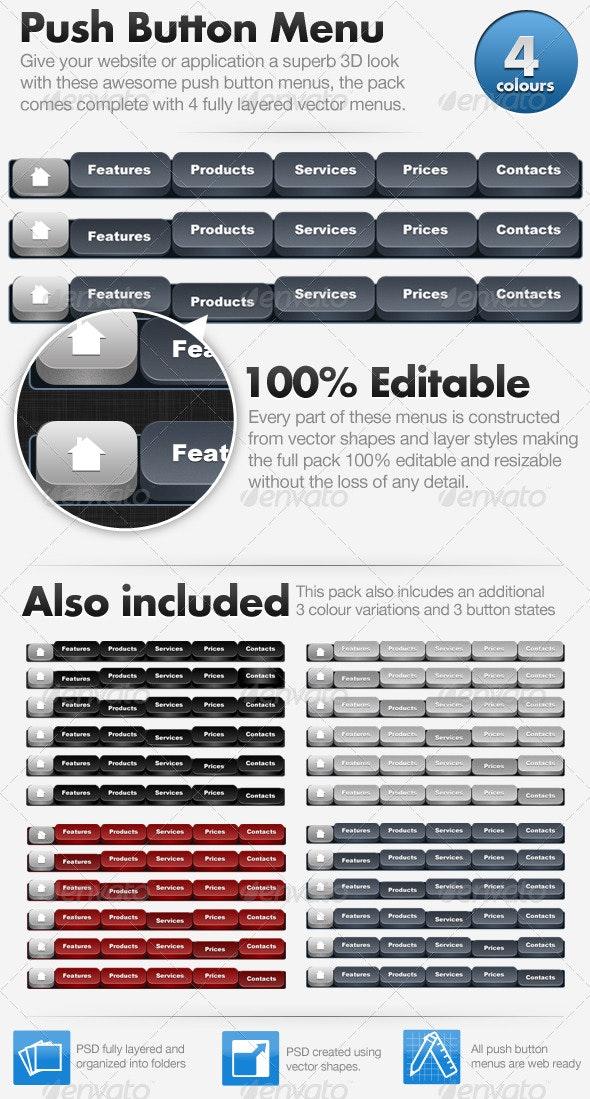 3D Push Button Menu - Buttons Web Elements