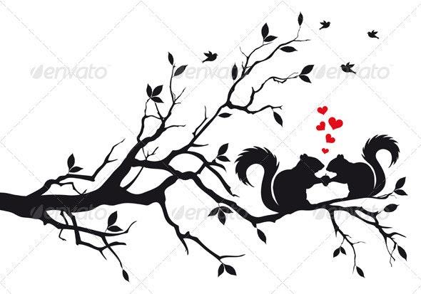 Squirrels On Tree - Valentines Seasons/Holidays