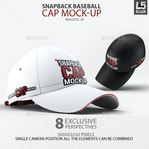 Snapback Baseball Cap Mock-Up