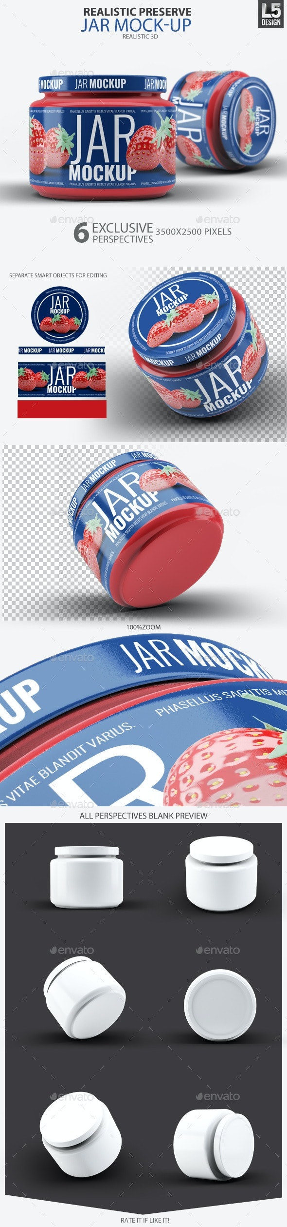 Realistic Preserve Jar Mock-Up - Food and Drink Packaging