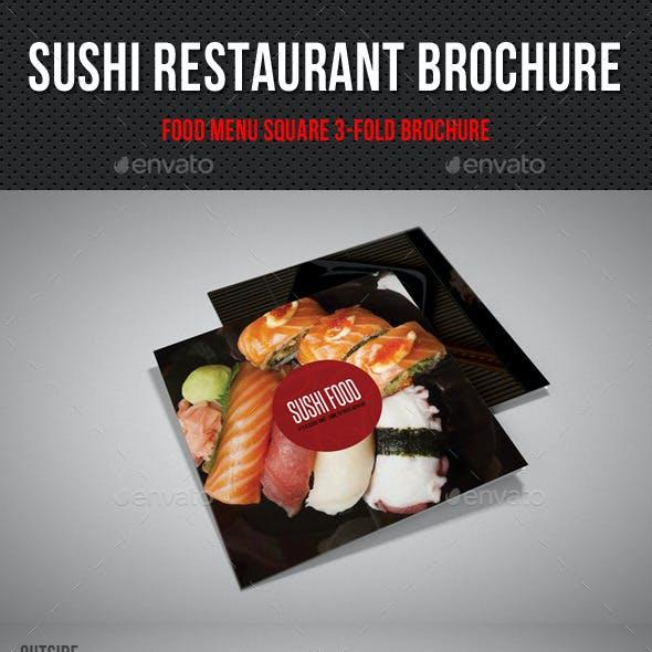 Sushi Restaurant Menu Square 3-Fold Brochure 03