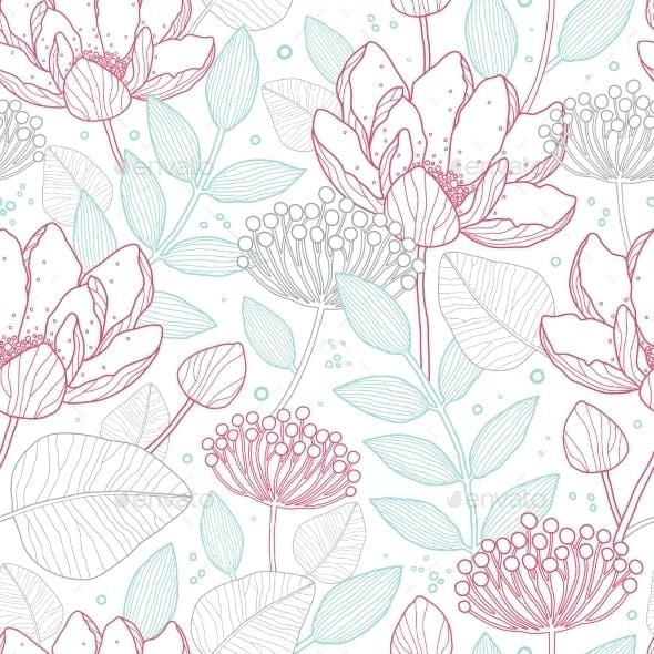 Vector Modern Line Art Florals Seamless Pattern