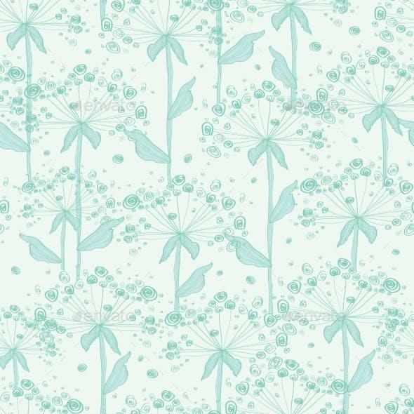 Vector Summer Line Art Dandelions Seamless Pattern