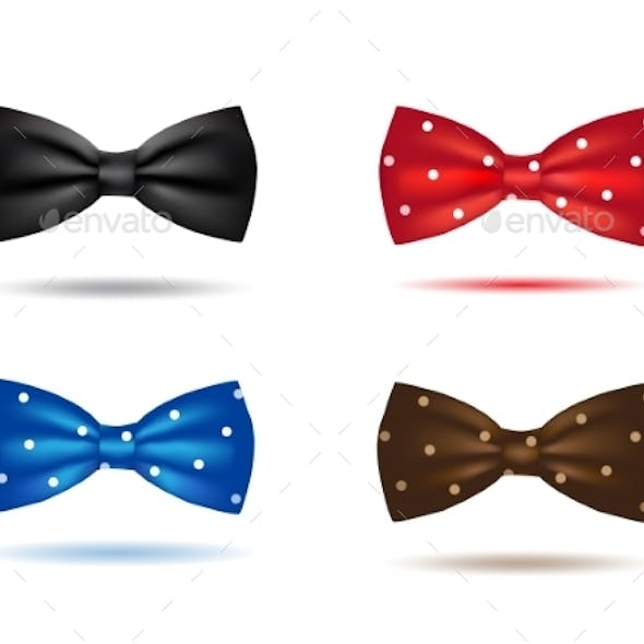 Vector Set Of Colorful Realistic Bow Ties