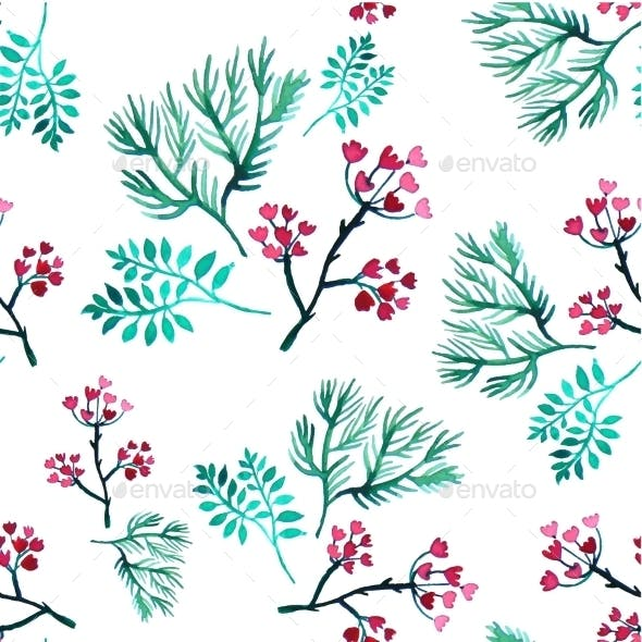 Vector Leaves And Flowers Watercolor Seamless