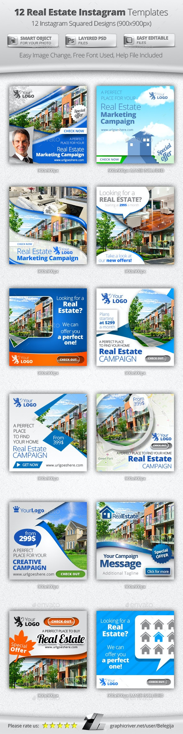 12 Real Estate Instagram Templates - Banners & Ads Web Elements