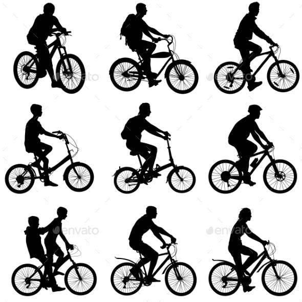 Set Silhouette Of a Cyclist Male And Female