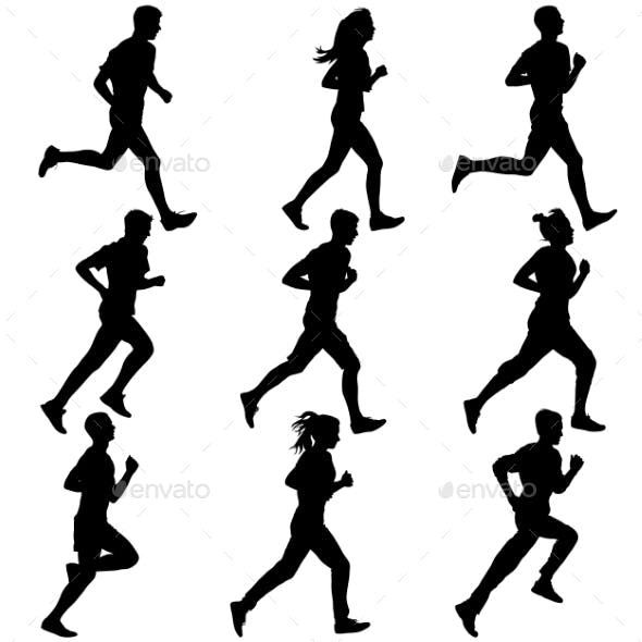 Set Of Silhouettes. Runners On Sprint, Men. Vector
