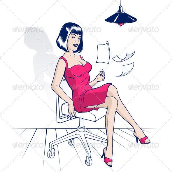 Office Cartoon Woman - People Characters