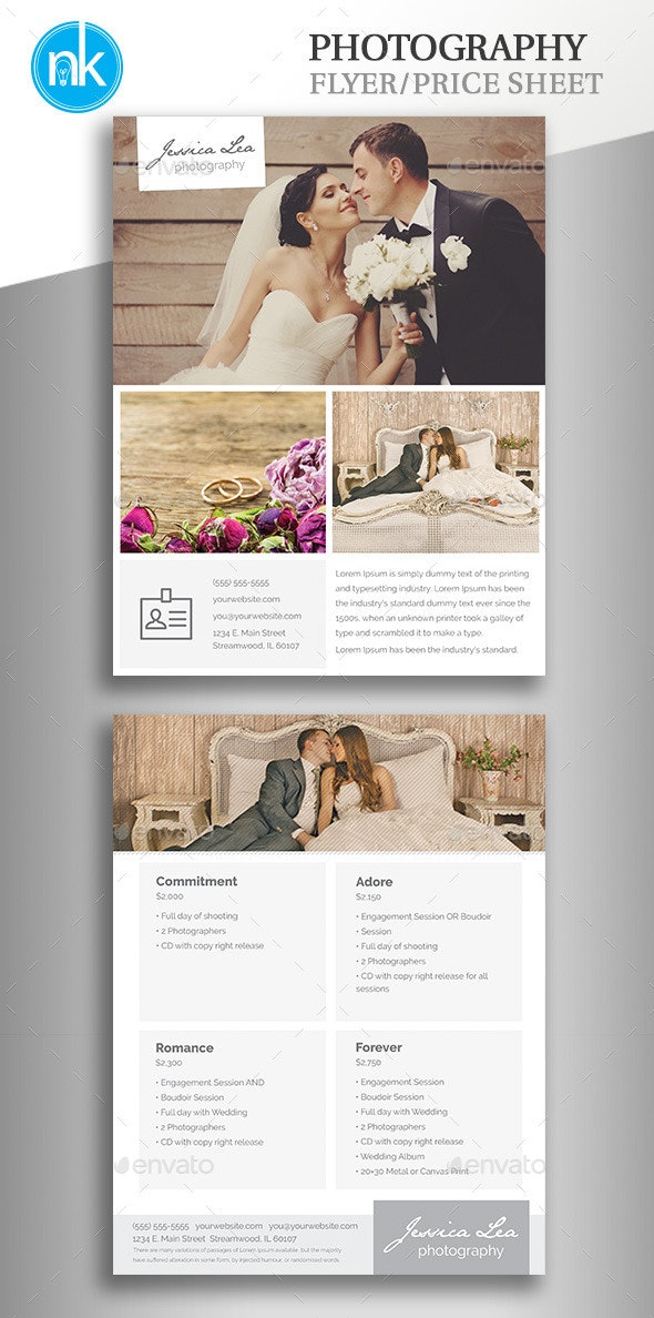 Photography Flyer / Pricing Sheet - Corporate Flyers