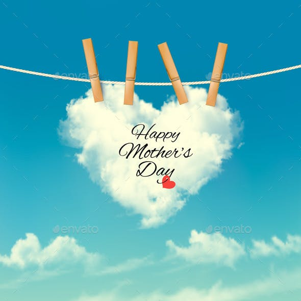 Holiday Mother Day Background With Cloud On Rope