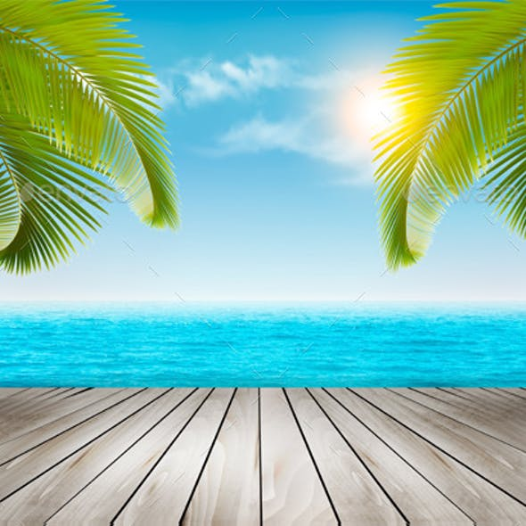 Vacation Background Beach With Palm Trees And Blue Sea