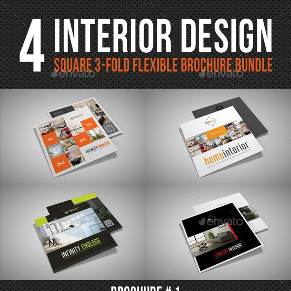 4 Interior Design Square 3-Fold Brochure Bundle