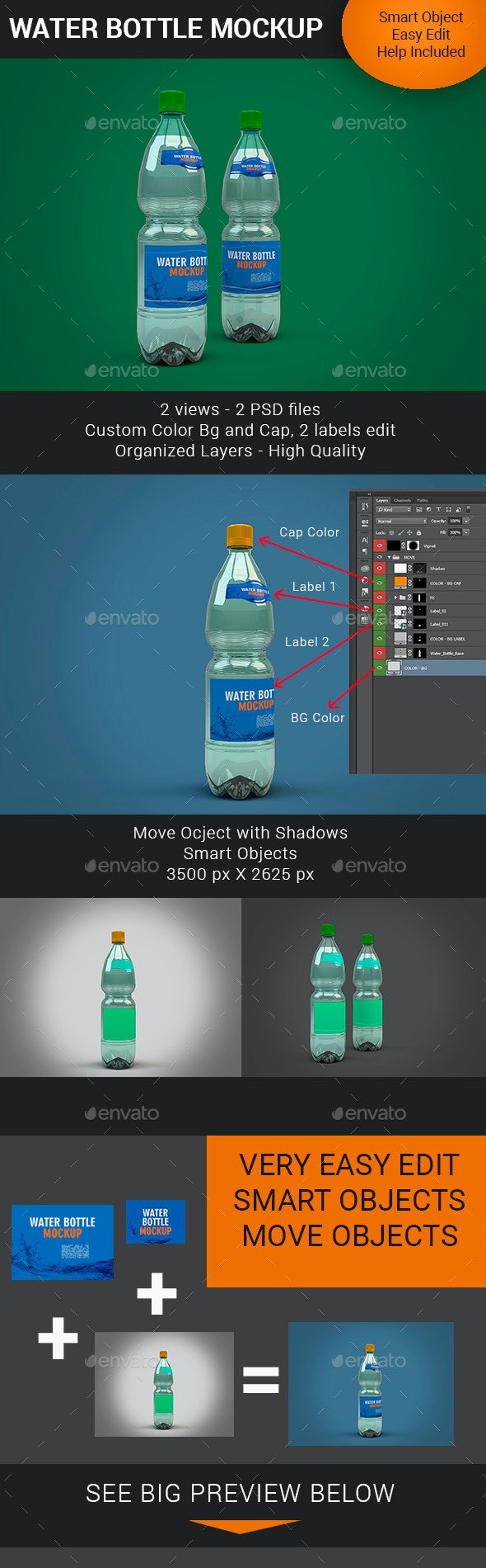Water Bottle Mockup V2 - Food and Drink Packaging