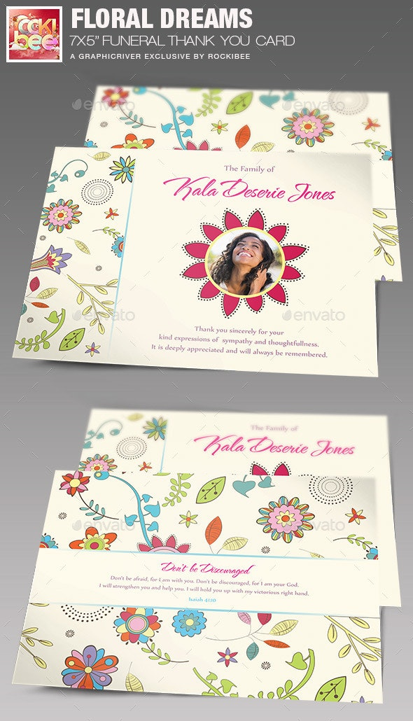 Floral Dreams Funeral Thank You Card - Cards & Invites Print Templates
