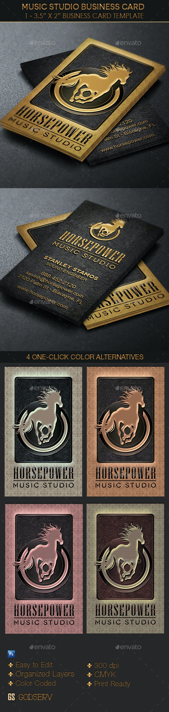 Music Studio Business Card Template - Industry Specific Business Cards