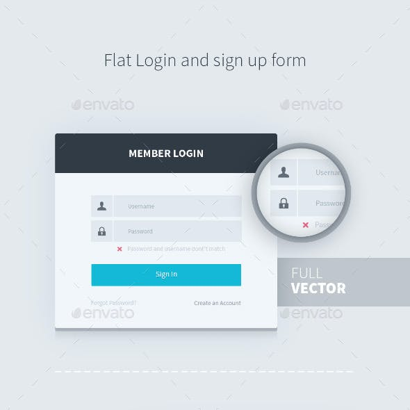 Flat Login and Sign Up Form