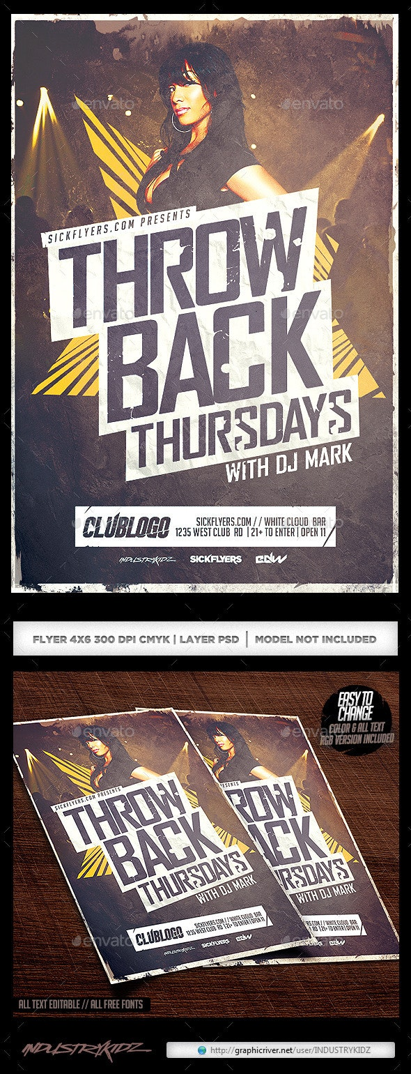 Throwback Thursdays Flyer - Clubs & Parties Events