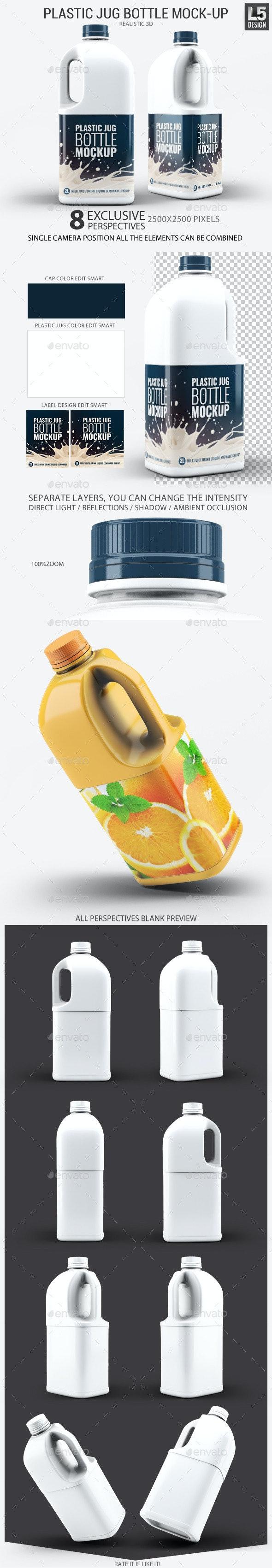 Plastic Jug Bottle Mock-Up - Food and Drink Packaging